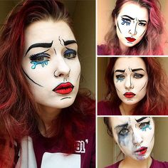 Saida Mickeviciute is a makeup artist from Lithuania. But as you can see from these pictures, there are many faces to this human chameleon. Pop Art Makeup, Old Makeup, Makeup Ideas, Victorian Makeup, Halloween Make Up, Halloween Face Makeup, Cartoon Makeup, Pop Art Party, Pop Art Face