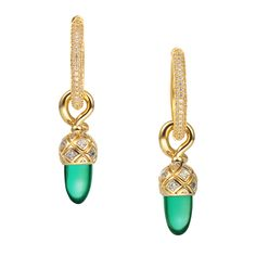 CIRO WALDHEIMAT hoop earrings/green large Cirolit white/green, gold-plated