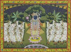 Decoding Pichwais: 6 Festivals Depicted in the Nathdwara Paintings of Lord Krishna Peacock Painting, Cow Painting, Music Painting, Krishna Art, Lord Krishna, Krishna Lila, Shree Krishna, Diwali And Holi, Pichwai Paintings