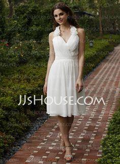 Bridesmaid Dresses - $102.99 - A-Line/Princess Halter Knee-Length Chiffon Bridesmaid Dress With Ruffle Flower(s) (007028108) http://jjshouse.com/A-Line-Princess-Halter-Knee-Length-Chiffon-Bridesmaid-Dress-With-Ruffle-Flower-S-007028108-g28108