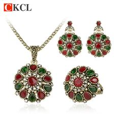 2016 Fashion Vintage Ethnic Jewelry Crystal Flower Necklace Sets Fashion Earing For Women Turkish 3Pc Nigerian Red Bead Necklace