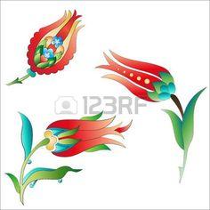 islamico: Las versiones de las artes decorativas otomanas, flores abstractas
