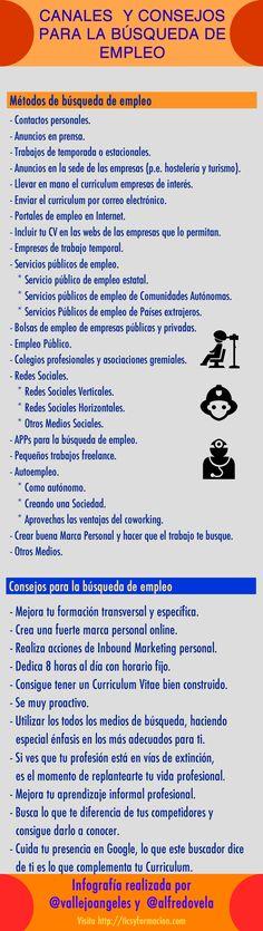 Canales y consejos para la búsqueda de empleo (versión 2) #infografia
