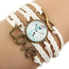 Disney Frozen Olaf Glass Bead Charm Leather Rope Fashion Bracelet Now On Sale for $3.99