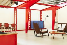 An exhibition view of Jousse Entreprise's booth at Design Miami Basel, 2011 (Jean Prouvé, Villejuif school structure, 1957).