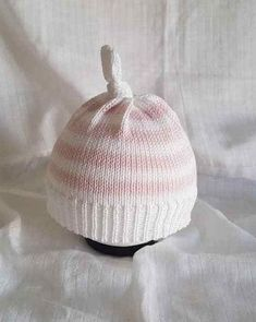 Hand made knitted baby /child beanie hat pink white stripe baby gift prop cotton