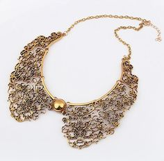 Min Order 15$ Free Shipping 2013 Vintage Alloy Gold Sweater False Collar Necklaces Fashion For Women MJ0081-in Choker Necklaces from Jewelry on Aliexpress.com