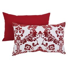 Decorative Red/White Flocked Damask 18.5 in. X 11.5 in. Rectangle Toss Pillow.Opens in a new window