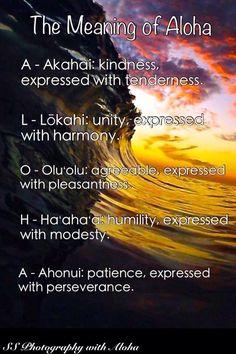 Aloha is an actual law in Hawaii Hawaiian Words And Meanings, Hawaiian Phrases, Hawaiian Sayings, Hawaii Language, Hawaii Quotes, Mahalo Hawaii, Hawaian Party, Hawaii Travel Guide, Inspire Quotes