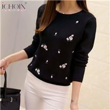 ICHOIX 2017 Women Autumn Winter Sweaters Ladies Floral Embroidery Pullover Fashion High Elastic Tricot Jumper Femme Soild Tops