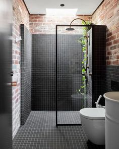 """STUDIO BLACK INTERIORS on Instagram: """"Exposed brickwork provides textured warmth and pattern. The contrasting black mosaic tile adds character and interest.   Known as the…"""" Brickwork, Morning Light, Mosaic Tiles, Contrast, Bathtub, Industrial, Studio, Architecture, Instagram"""