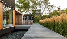 small garden decks and patio design ideas wooden path gravel Hall House