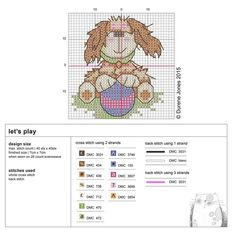 cross stitch #chart #dog #play #free by Durene Jones