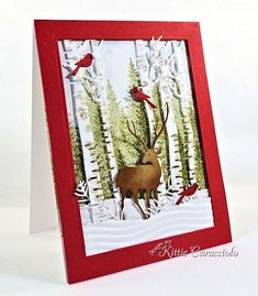 KC Impression Obsession Birch Trees 1 left by joann Hand Made Greeting Cards, Making Greeting Cards, Xmas Cards, Holiday Cards, Men's Cards, Noel Christmas, Handmade Christmas, Christmas Crafts, Christmas Scenes