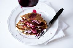 Coffee Crepes with Ricotta Cheese & Cherries by whatshouldieatforbreakfasttoday #Crepes #Cherry