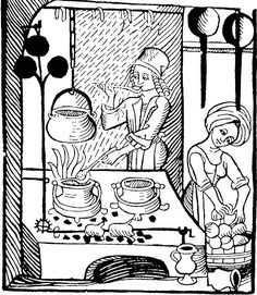 A cook at the hearth with his trademark ladle; woodcut illustration from Kuchenmaistrey, the first printed cookbook in German, woodcut, 1485.