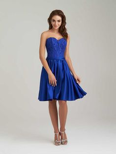 Short Lace and Satin Royal Blue Wedding Party Bridesmaid Dresses 1006031