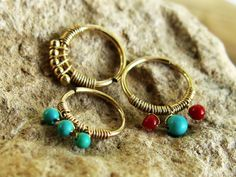 Handmade Cartilage hoop - Tragus ring - 14k yellow Gold filled - Turquoise earring - 18 gauge - Gypsy septum ring - indian nose ring