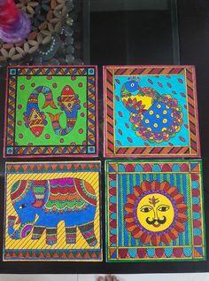 Madhubani Paintings Peacock, Tanjore Painting, Madhubani Art, Indian Art Paintings, Paintings I Love, Children Painting, Painting For Kids, Sitting Buddha, Tea Coaster