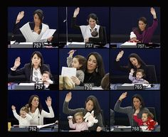 Vittoria, the daughter of Italian MEP Licia Ronzulli, at sessions of the European parliament YES!!!