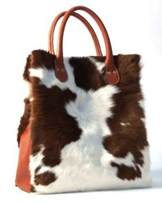 Exclusive cowhide handbag from Cinnamonsister. A real show stopper! Leather Bags Handmade, Leather Craft, Tote Handbags, Purses And Handbags, Cowhide Purse, Fur Bag, Cow Hide, Cute Bags, Beautiful Bags