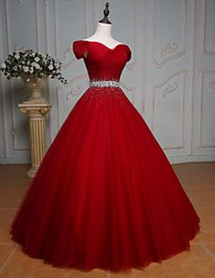 Formal Evening Dress Ball Gown Off-the-shoulder Floor-length Tulle with Beading / Crystal Detailing / Sequins – USD $ 169.99