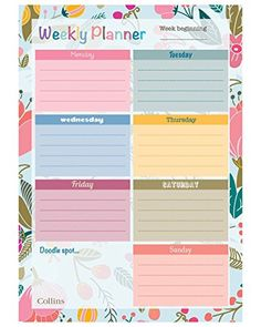 From Collins Enchanted Weekly Desk Pad Planner Pages, Weekly Planner, Desk Pad, Binder Organization, Writing Paper, Brighton, Planer, Doodles, Printables