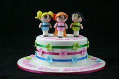 powerpuff girls ribbon and flowers cake