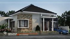 20 Small House Designs that Will Mesmerize You - House And Decors Small Bungalow, Bungalow House Design, Small House Design, Modern Tiny House, Modern House Plans, Building Design, Building A House, One Bedroom House Plans, Village House Design