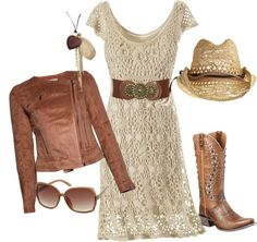 """Romantic crocheted dress with boots"" by desert-diva on Polyvore.... Minus that hat!!!!"