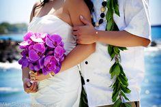 purple orchid Maui wedding bouquet