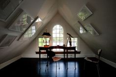sloped ceiling decoration | ... intimate attic home office with framed decorations on the sloped walls