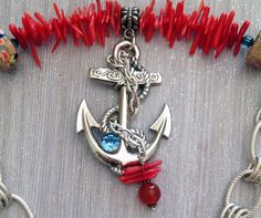 Big Anchor Red Coral Nautical by MeyerClarkCreative on Etsy