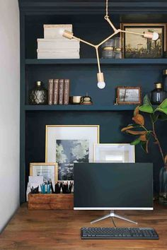 Formal Family Room & Office Nook, … – Home Office Design Vintage Best Neutral Paint Colors, Bed Nook, Office Nook, Office Walls, Bookcase Styling, Basement Makeover, Home Office Design, Coin, Room Inspiration