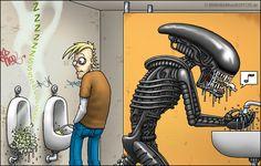 "I'd HATE to be in that restroom... (""R.I.P. Hansruedi Giger"" by Bringmann & Kopetzki. May 14, 2014) #Alien #Xenomorph"