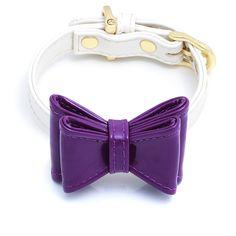 "Enamel Ribbon DOG Collar Bow Set ""DIAMOND & OH SO PURPLE"""