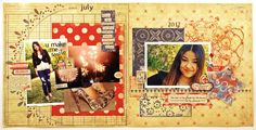 scrapbooking 2 pages double page layout. 4th of July fireworks. Authentique Papers.