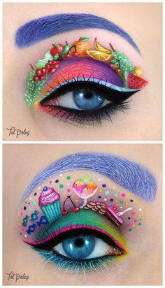 Tal Peleg make-up eye-art Crazy Eye Makeup, Creative Makeup Looks, Colorful Eye Makeup, Eye Makeup Art, Lip Makeup, Fairy Makeup, Mermaid Makeup, Subtle Makeup, Makeup Brushes