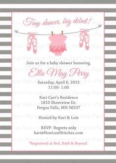 Ballet Baby shower Invitation baby girl by freshlysqueezedcards freshlysqueezedcards.etsy.com