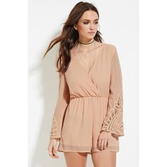 87761eee8152 Forever 21 Women s Crochet-Paneled Romper ( 28) ❤ liked on Polyvore  featuring jumpsuits