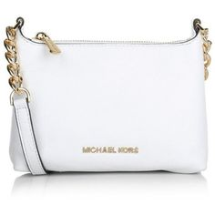 MICHAEL Michael Kors Bedford Crossbody Optic White Bag found on Polyvore featuring bags, handbags, clutches, white, leather tote purse, michael kors purses, white leather purse, handbags  purses and michael kors crossbody