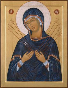 Богоматерь Семистрельная Our Lady Of Sorrows, Blessed Mother Mary, Byzantine Icons, Religious Icons, Art Icon, Orthodox Icons, Russian Art, Sacred Art, Portrait Art
