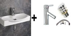 68.7cm Wide Wall Mounted Livorno Hand Basin Top Mounted Tap and Push Click Basin Waste