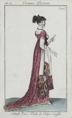 Cream shawl with colourful ends. October 1803, Journal des dames.