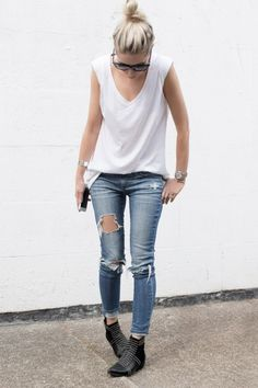 Rock 'n' Roll Style ✯ figtny.com | White tee's + Ripped Knees + Annie Bing Charlie Boots with gold studs