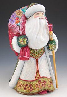 Winter White and Emerald Green Santa Claus