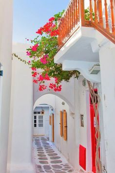 Alley of Chora: pristine white houses and blooming bougainvillea in Mykonos, Greece