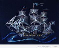 Sailing Ship String Art