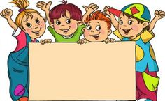 The group of children holds the large clean sheet of paper — Stock Illustration School Frame, Clean Sheets, School Labels, School Clipart, Cute Clipart, School Boy, Three Kids, Kids Education, Classroom Decor
