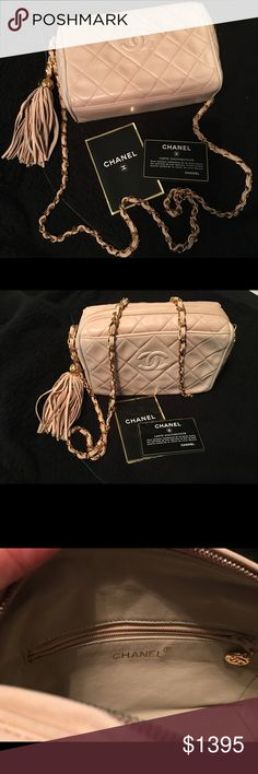 Chanel Camera bag Authentic Vintage Chanel Camera Bag. Pink with gold hardware. Tassle. Good condition. Love this baby. Hard to let go. Just got it back from professional restoration place. Open to offers😊 CHANEL Bags Crossbody Bags